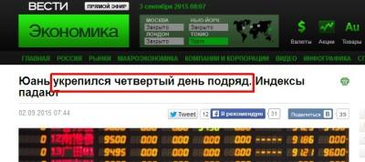 Юань укрепился, Вести Экономика, ошибки в центральных СМИ России