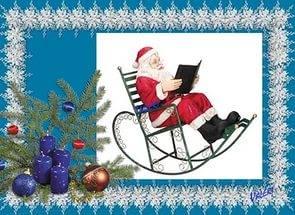 Дед Мороз с книгой в руках и ёлка новогодняя