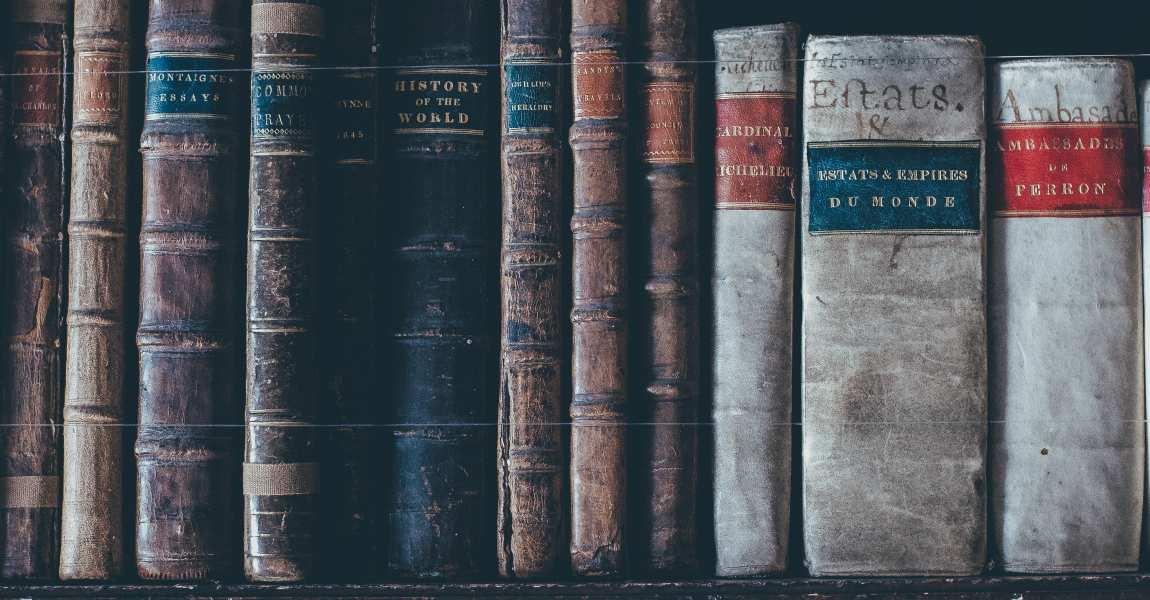 Книги, полка, библиотека, старинные тома, фото