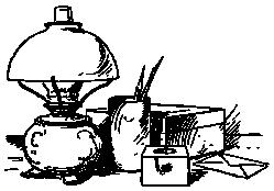 Рабочий стол писателя, лампа, перья, чернильница