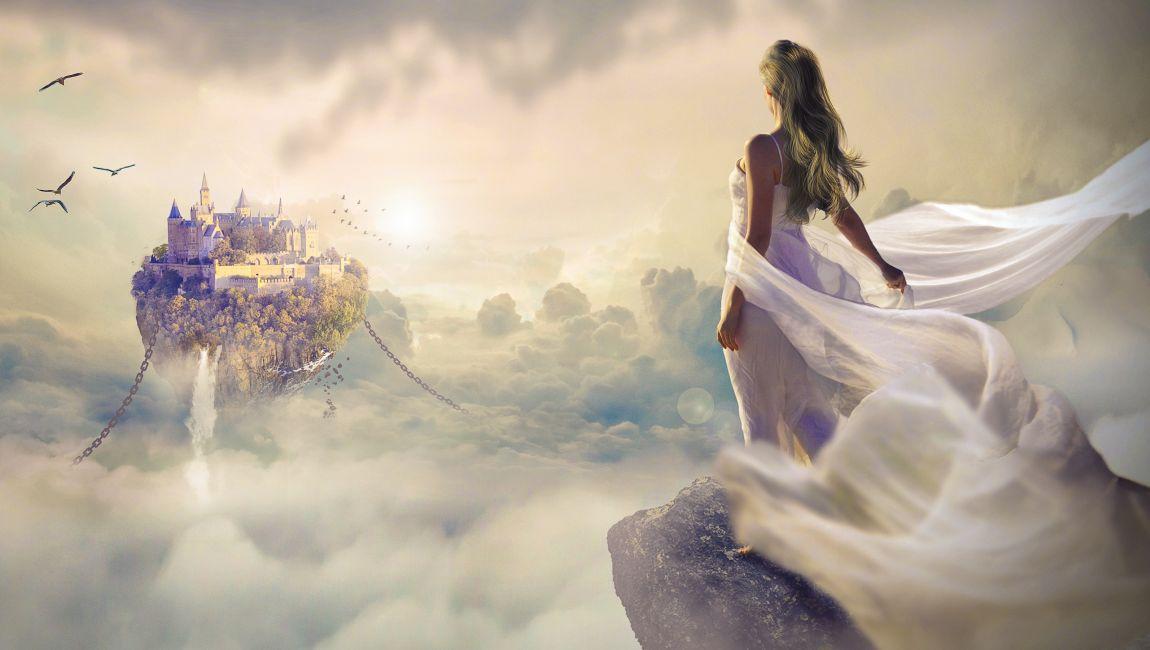 Фея, замок, небо, птицы, сказка