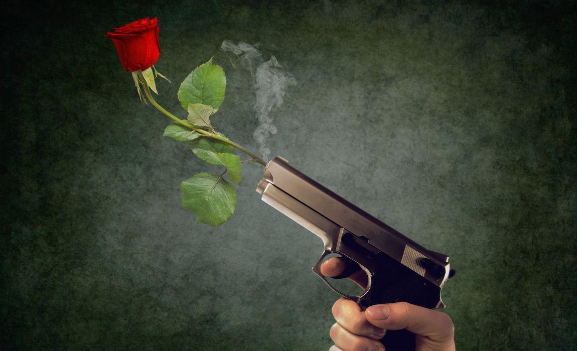 Пистолет, цветок, роза, выстрел, любовь против оружия