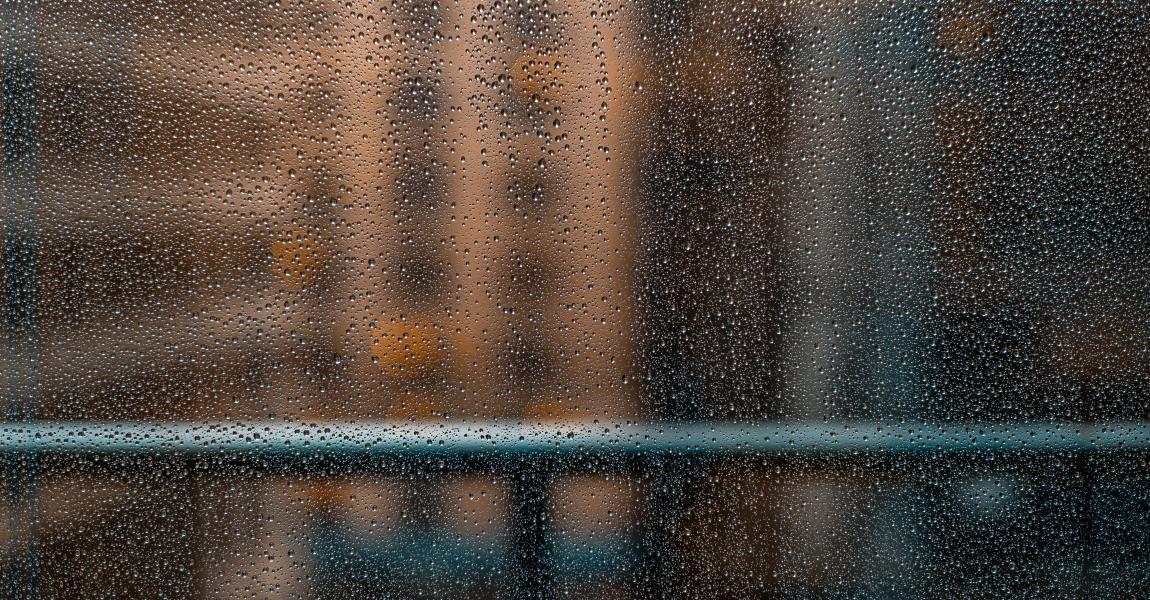 Дождь, капли дождя, стекло, окно, город, фото