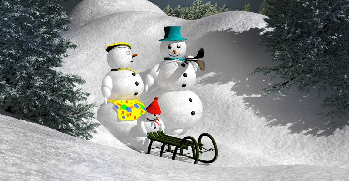 Снеговики, семья снеговиков, любовь, катание на сканках, зима, снег