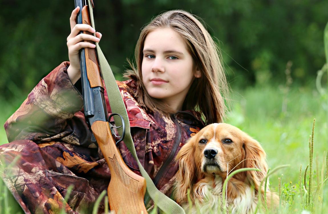 Девушка, охотница, собака, Белла, ружьё