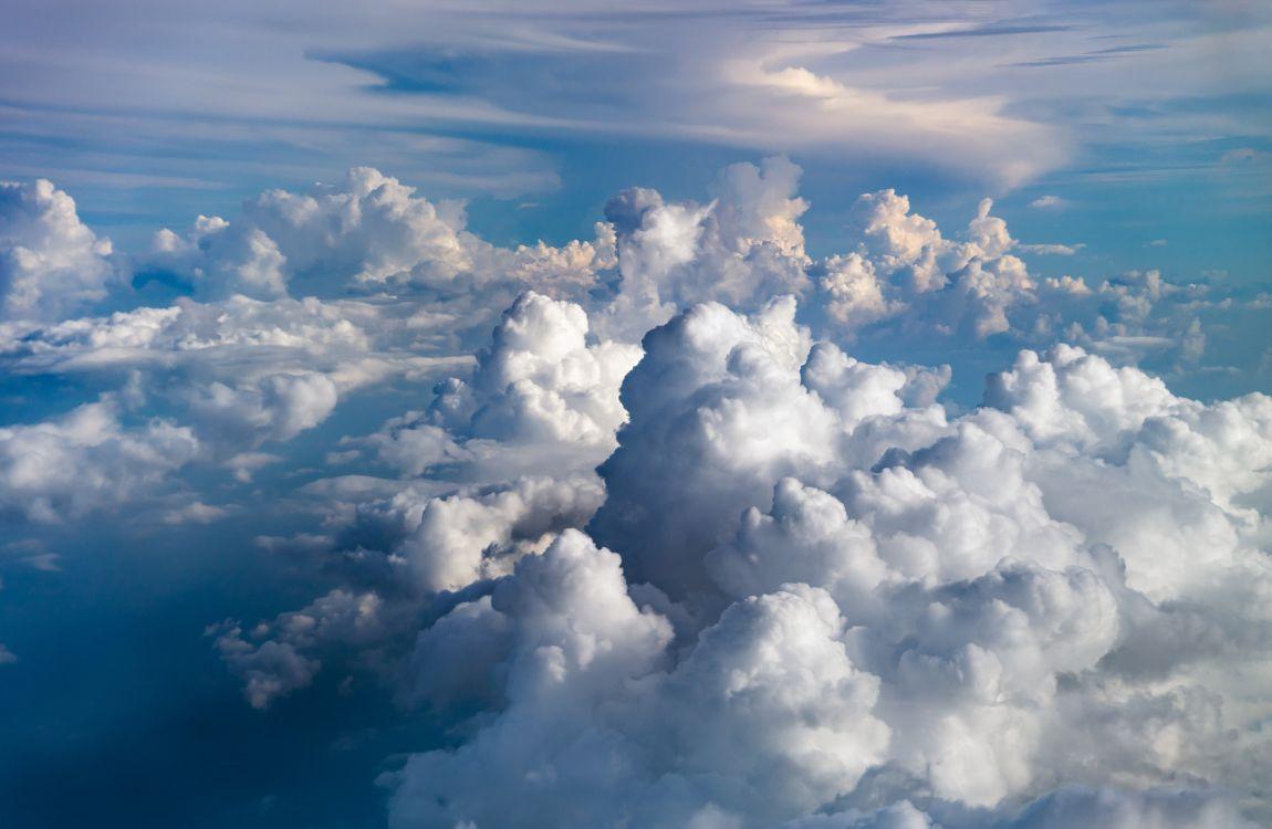 Небо, голубое, васильковое, облака