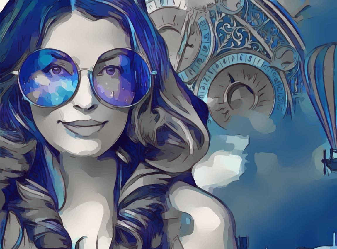 Женщина, глаза, синие, очки, время, жизнь