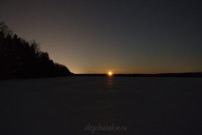 Восход луны, поле, март, снег, звёздное небо