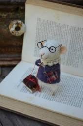 Умная мышка в очках и книга