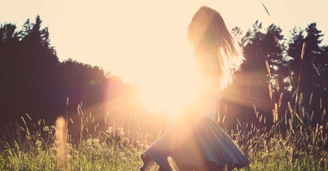 Девушка, солнце, фото, иллюстрация