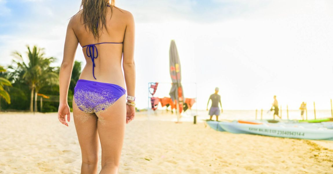 Девушка, пляж, бикини, песок, фото, иллюстрация