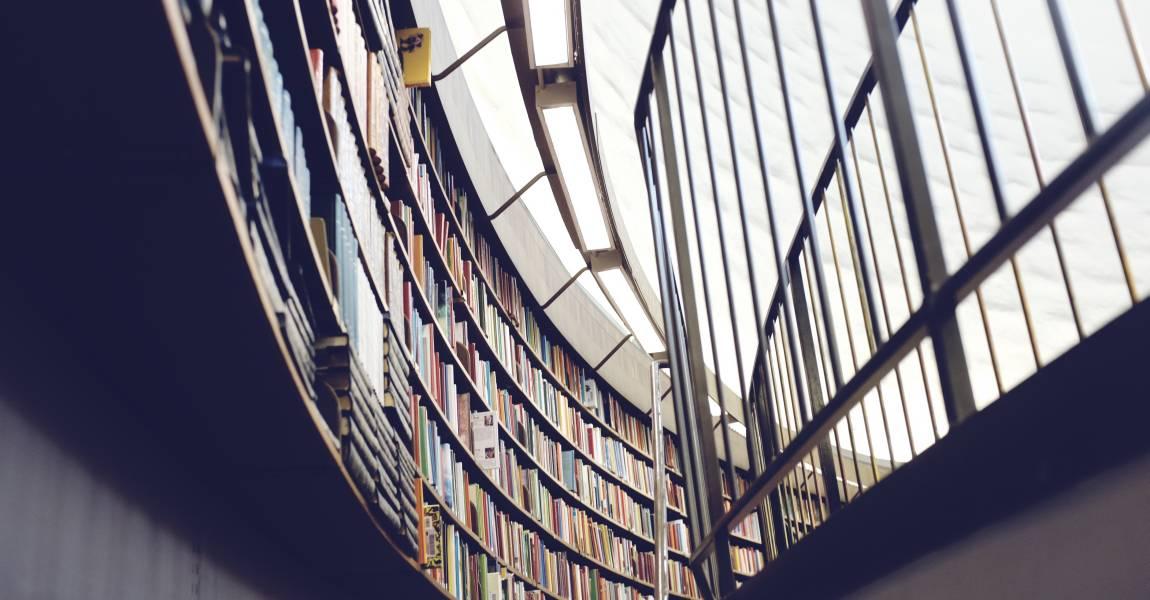 Книги, полки, стеллажи, библиотека, фото, иллюстрация