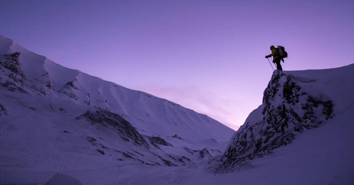 Горы, снег, лыжник, фото