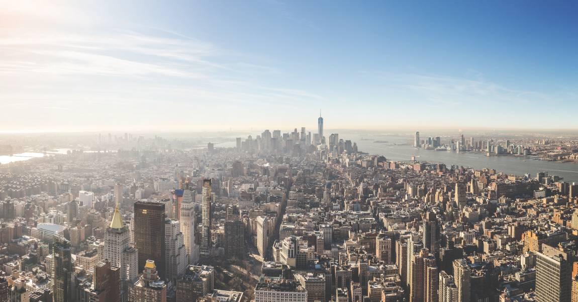 Манхэттен, вид с самолёта, вид Манхэттена, фото