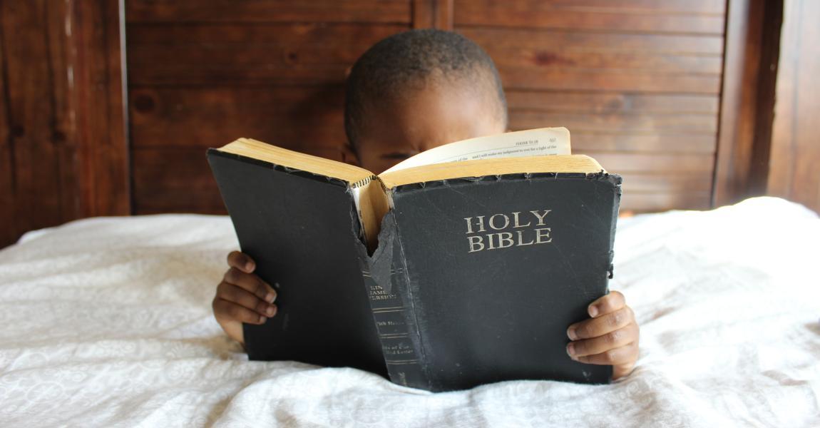 Мальчик, читает, книга, библия, holy bible, фото