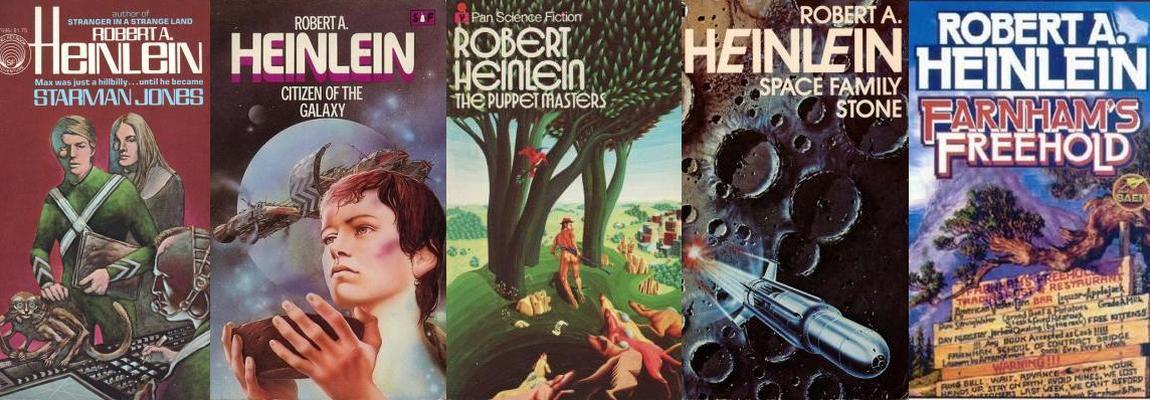 Обложки книг Роберта Хайнлайна, американские издания, коллаж, фото