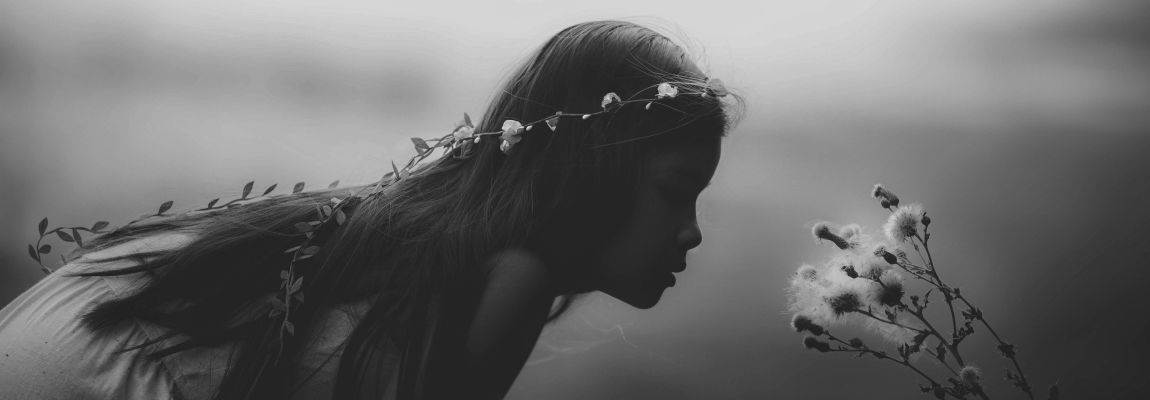 Девочка, писатель, цветок, фотоиллюстрация