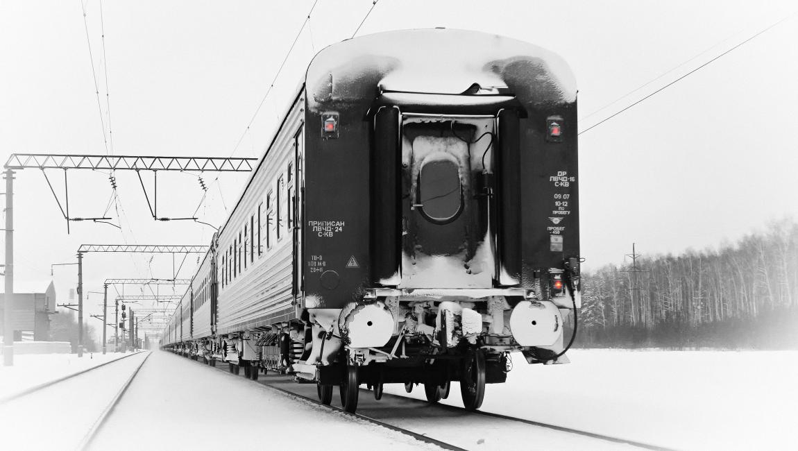 Поезд, состав, вагоны, железная дорога, зима, лесополоса, фото
