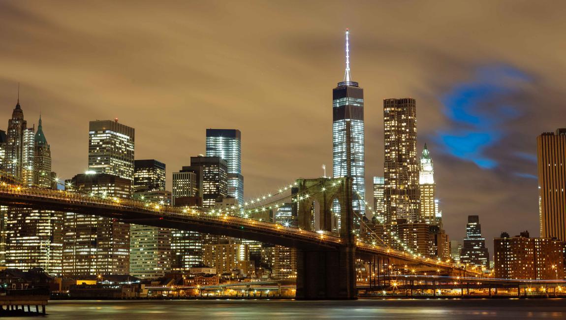 Бруклинский мост, Нью-Йорк, ночь, фото