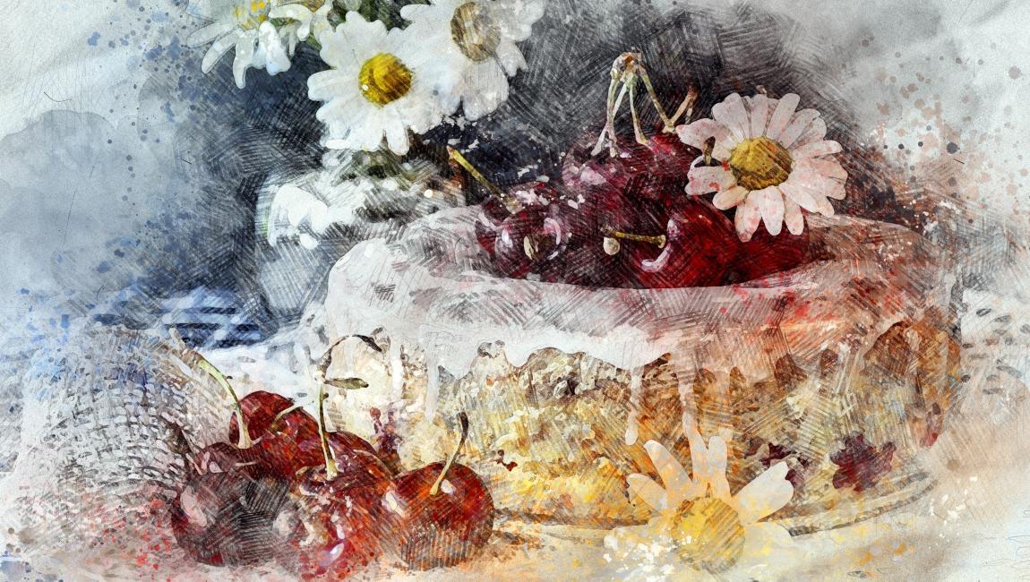 Вишнёвый пирог, торт, вишни, отметить, праздник