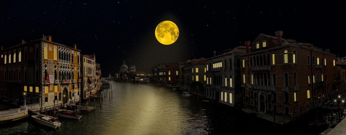 Венеция, ночь, луна, любовь, романтика