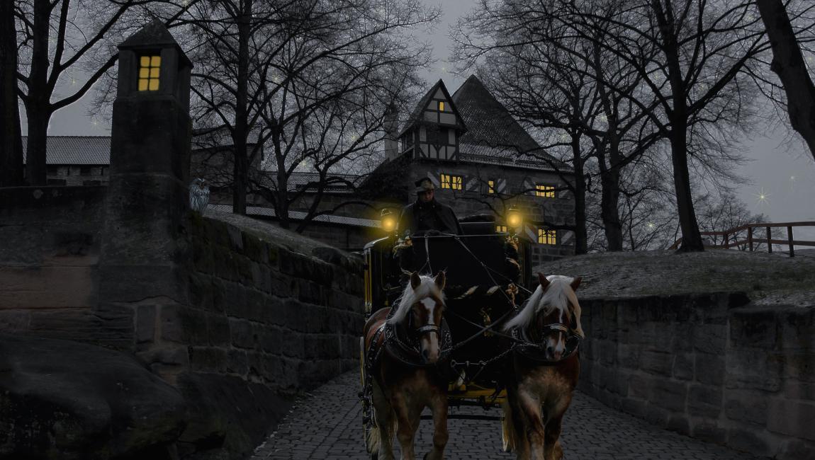 Карета, кучер, лошади, графиня, дом, путь