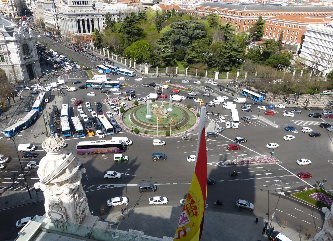 Мадрид, город, центр, движение транспорта, улицы, вид с крыши
