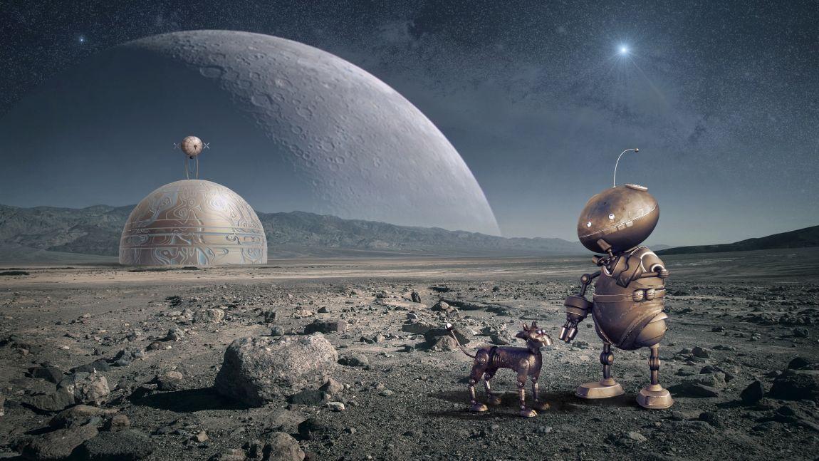 Робот, спутник, луна, завод, будущее, Россия