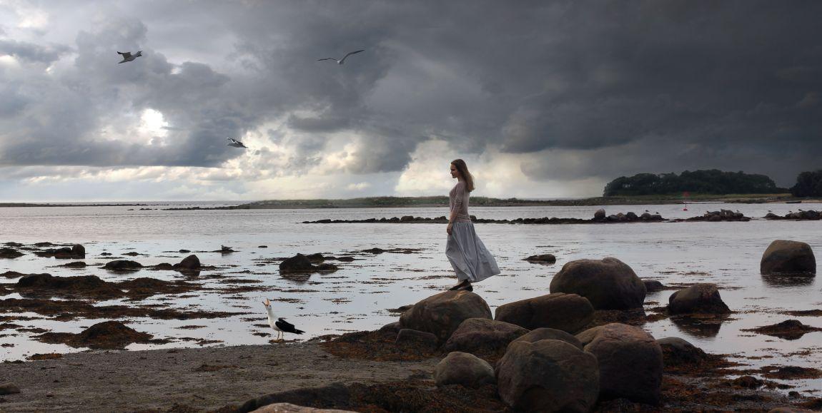 Девушка, море, чайки, камни, берег, север
