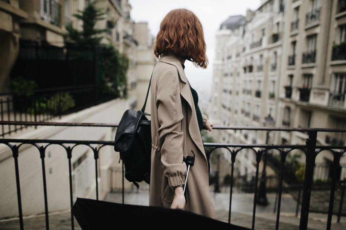 Девушка, после дождя, зонт, город