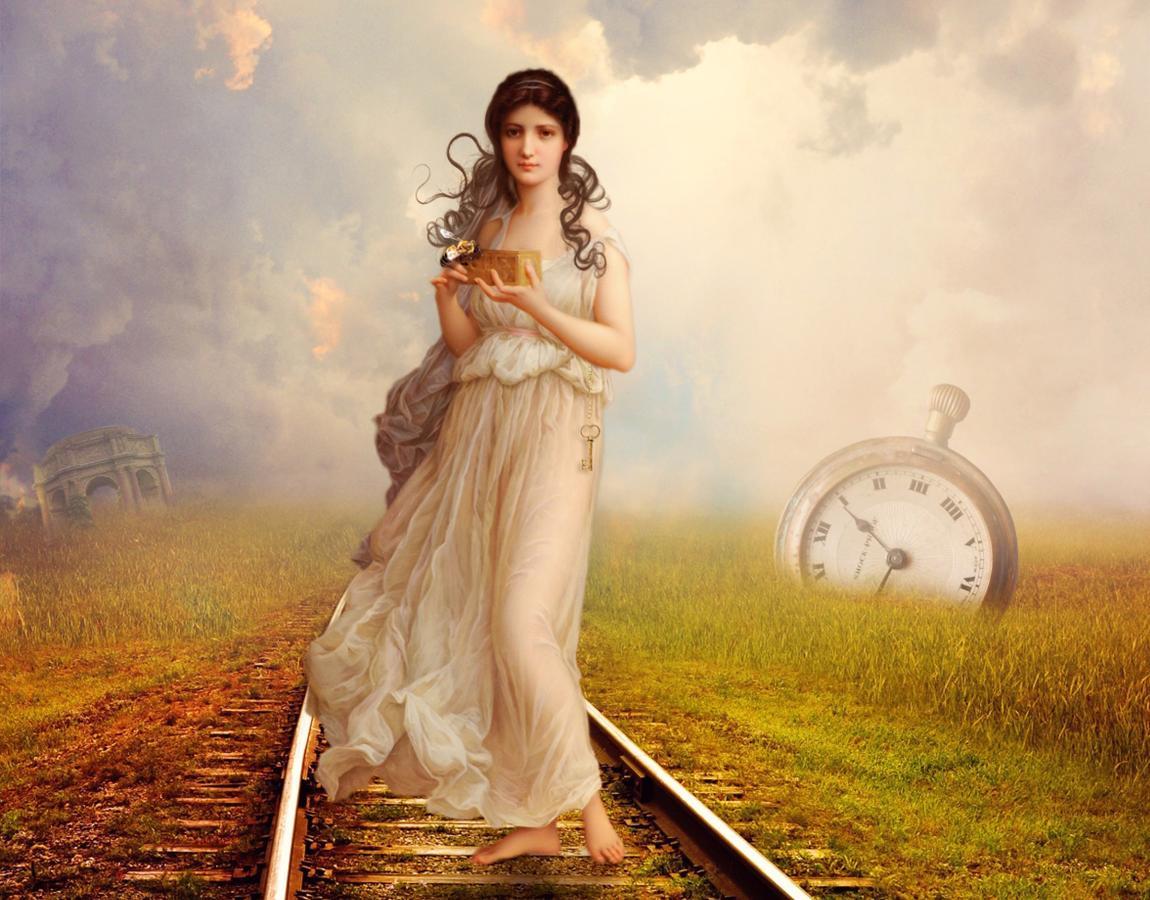 Женщина, рельсы, железная дорога, поезд, часы, время, фантазия
