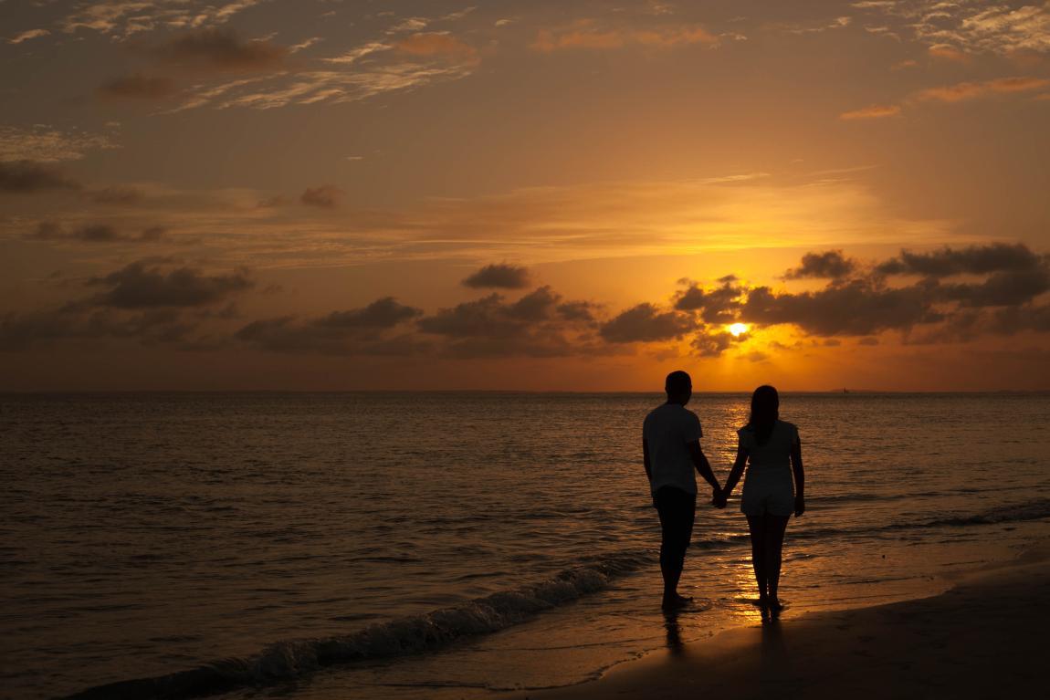 Любовь, пара, двое, закат, на море