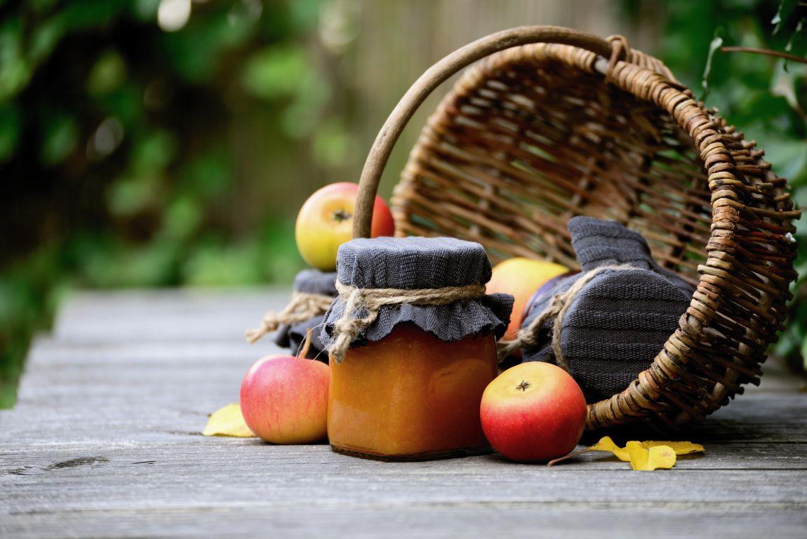 Яблоки, джем, корзина, дача, август