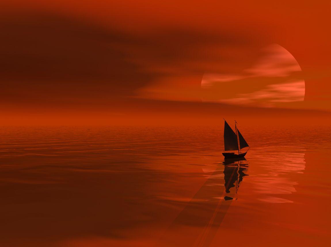Закат, море, оранжевый, красный, парус