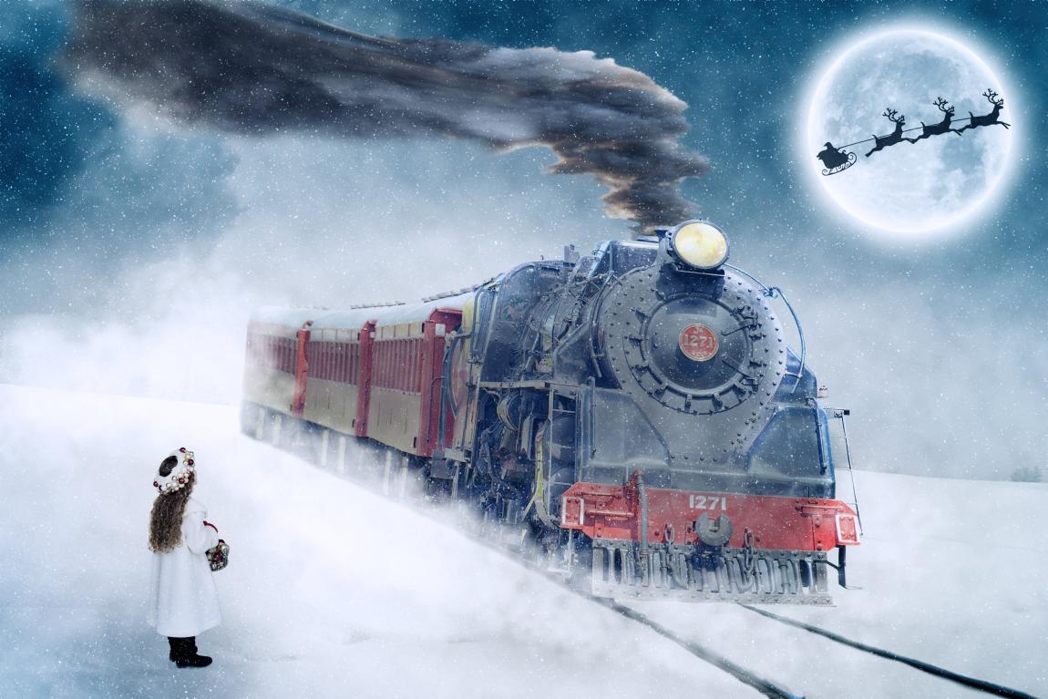 Сказка, девочка, паровоз, поезд, мотивы Нового года, Дед Мороз, день рождения, 18 ноября