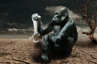 Горилла, кость, конец человечества, язык людей умер, автор, писатель, литература, ошибки